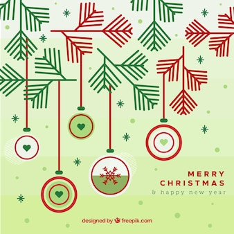 Christmas background with decoration and leaves
