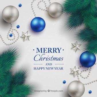 Рождественский фон с декоративными шарами