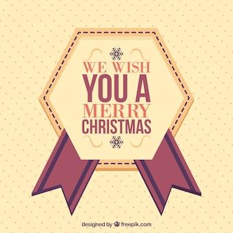Christmas background with decorative geometric badge