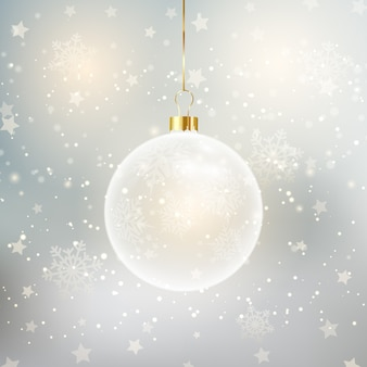 Christmas background with decorative hanging bauble