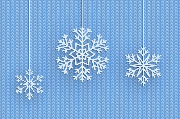 Christmas background with decorative hanging snowflakes