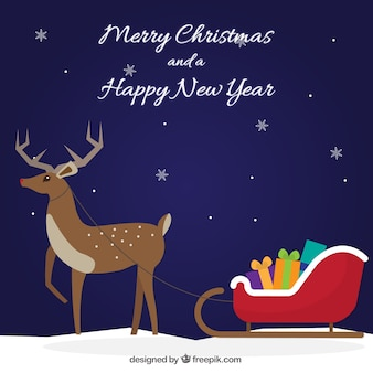 Christmas background with deer and sleigh