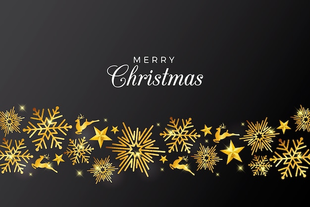 Christmas background with elegant golden decorations