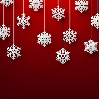 Christmas background with elegant paper snowflakes.