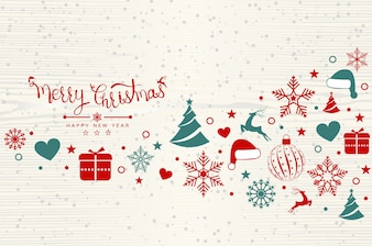 Christmas background with element icons banner