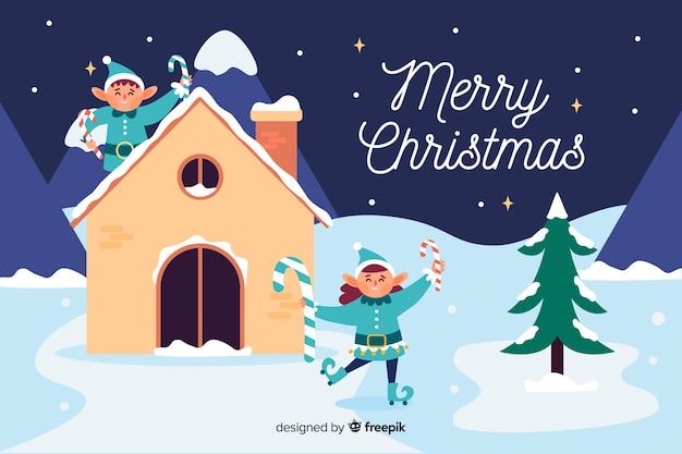 フラットなデザインのエルフとクリスマスの背景