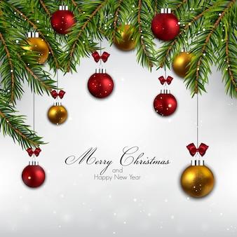 モミの枝とボールとクリスマスの背景。