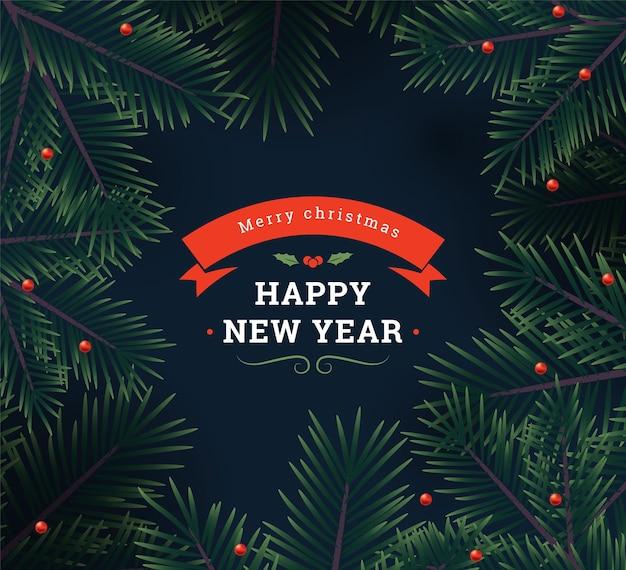 Новогодний фон с еловыми ветками и ягодами. векторная иллюстрация