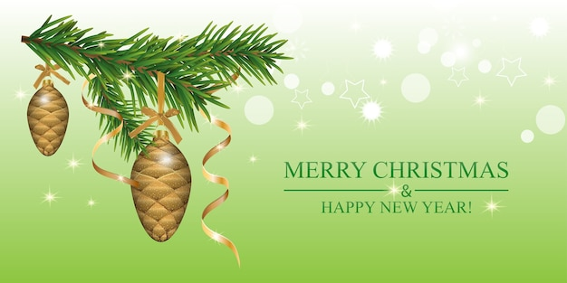 Christmas background with fir branches, baubles cones and golden ribbons.