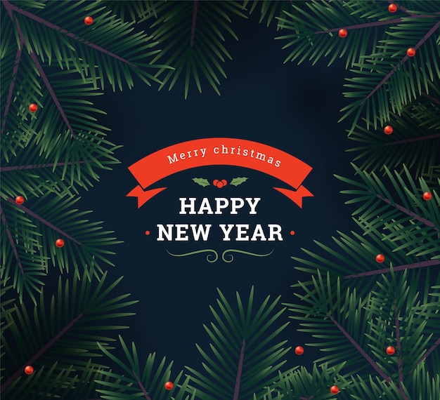 Christmas background with fir branches and berries. vector illustration