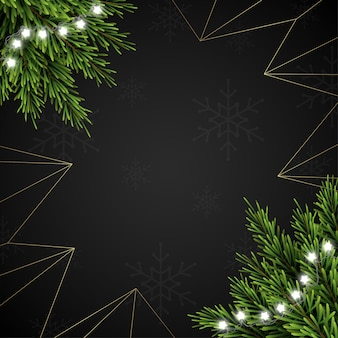 Christmas background with fir branches on dark background