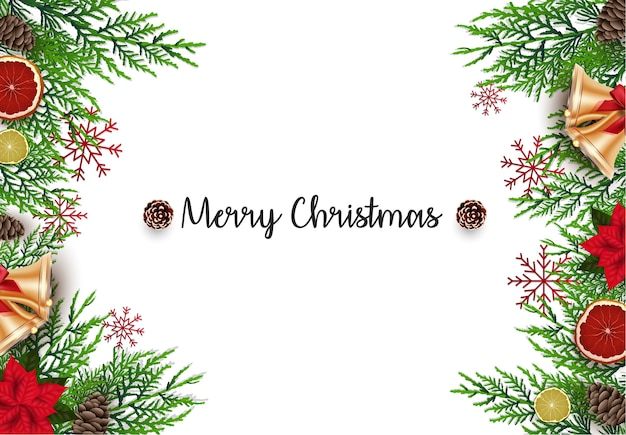 Christmas background with fir branches and golden bells
