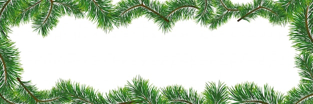 Christmas background with fir branches.  illustration with frame and copyspace