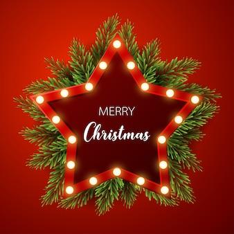 전나무와 크리스마스 배경, 빨간색 배경에 빛 기호