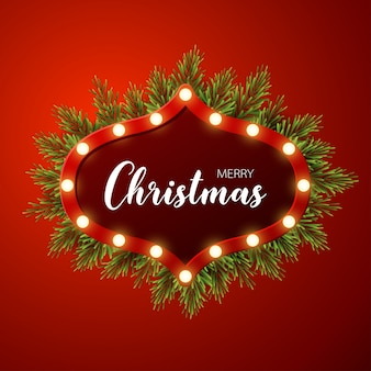 Christmas background with fir branches, light sign on red background