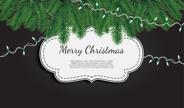 Christmas background with fir branches, realistic fir-tree border,
