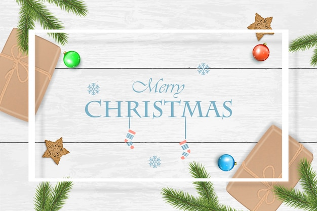 Christmas background with fir branches