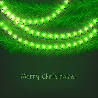 Christmas background with fir garlands and light bulbs