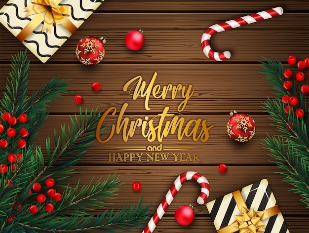 Christmas background with fir tree branches and balls