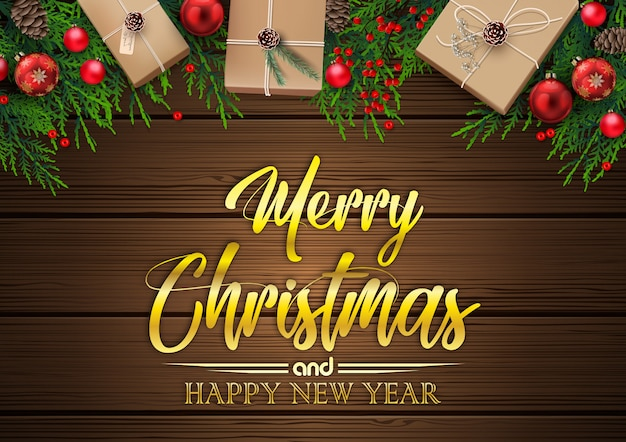 Christmas background with fir tree branches and decorations