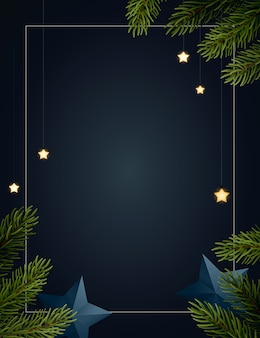 Christmas background  with fir tree branches, glowing stars, gold serpentines and paper stars. dark backdrop with copyspace.