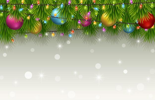 전나무 나무 가지와 크리스마스 배경