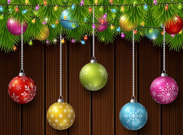 Christmas background with fir tree branches