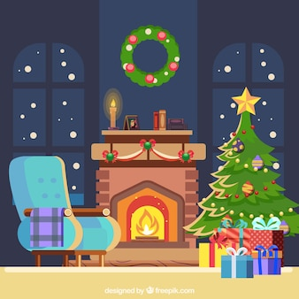 Christmas background with fireplace in flat design