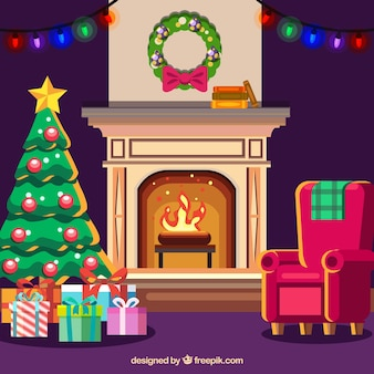 Christmas background with fireplace
