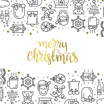 Christmas background with flat icons.
