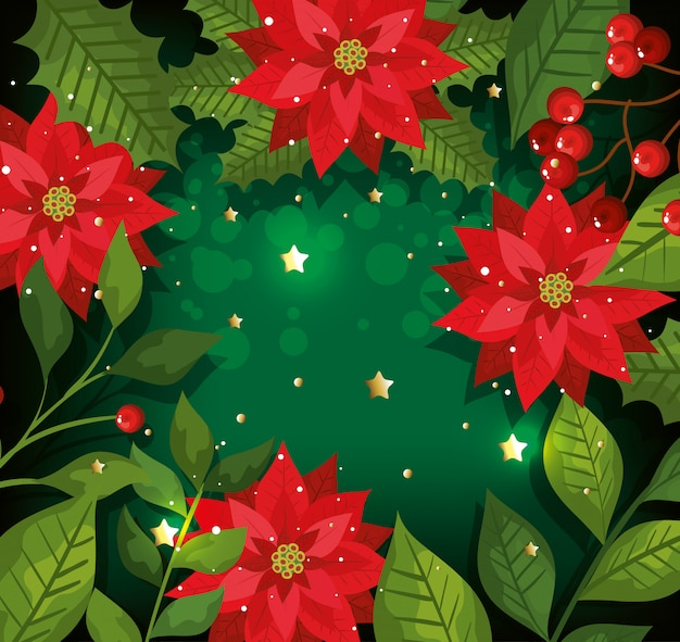 Christmas background with flowers and decoration