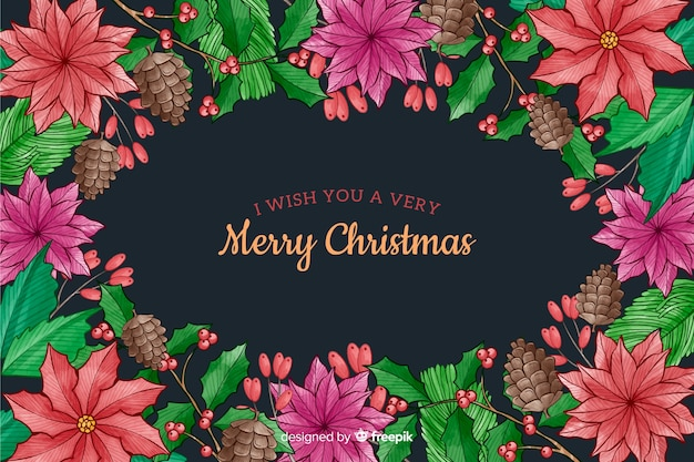 Christmas background with flowers watercolor style