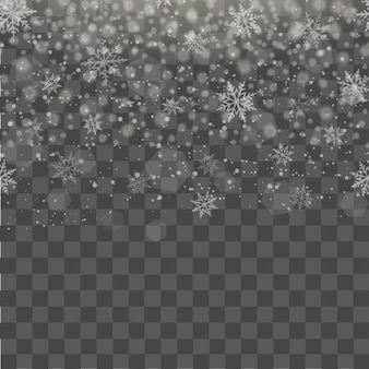 Christmas background with flying snow or snowflakes