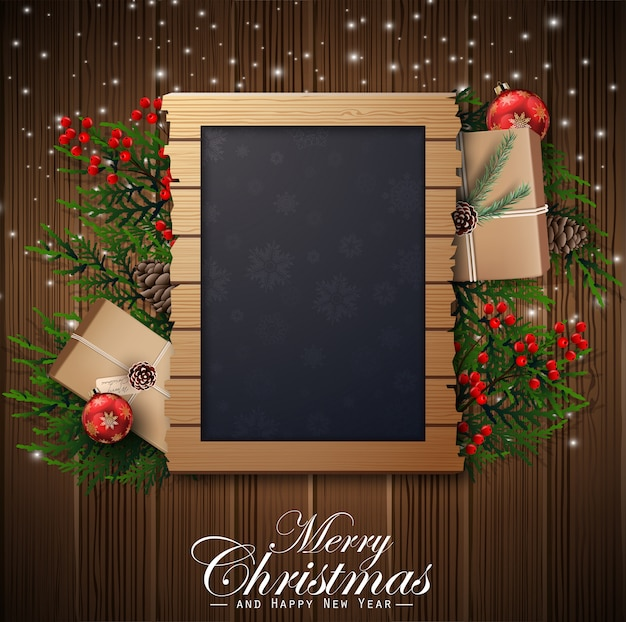 Christmas background with frame and decorations
