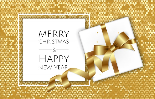 Christmas background with gift box and ribbons, christmas greeting card or poster template,