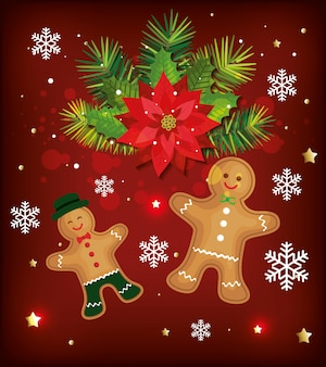 Christmas background with ginger cookies and decoration