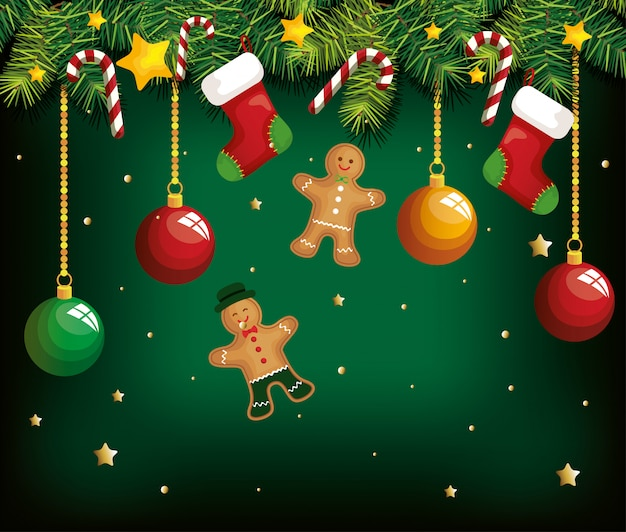 Christmas background with ginger cookies hanging and decoration