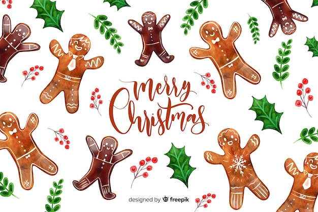 Christmas background with gingerbread man