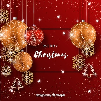 Christmas background with glitter elements
