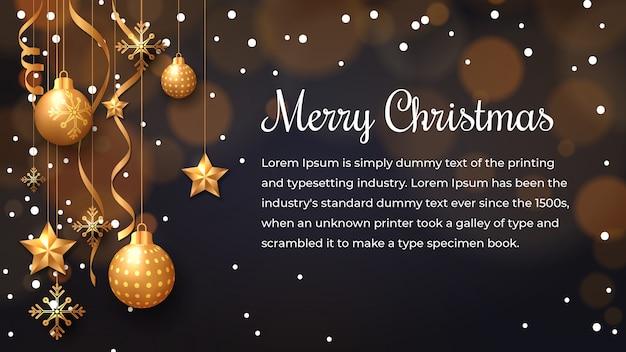 Новогодний фон со светящимися точками, легкие золотые звезды, пузыри и снежинки