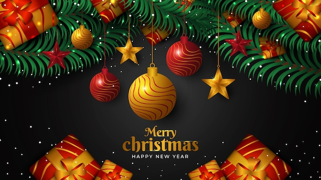 Christmas background with glowing dots