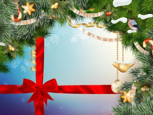 金のボールとクリスマスの背景。