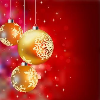 Рождественский фон с золотыми шарами