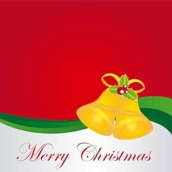 Рождественский фон с золотыми колокольчиками с листьями вектор
