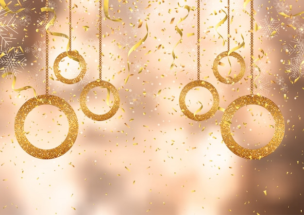 Christmas background with gold confetti and decorations