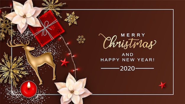 Christmas background with gold deer and poinsettia flowers