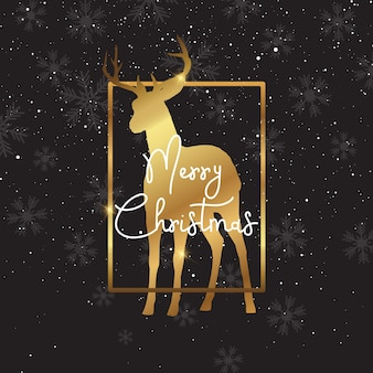 Christmas background with gold deer silhouette