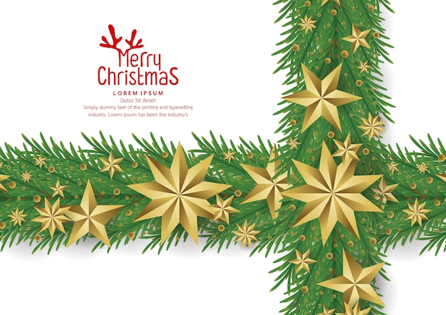 Christmas background with gold foil stars