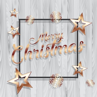 Christmas background with gold stars and frame on wooden texture