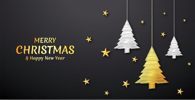 Новогодний фон с золотыми и серебряными линиями дерева